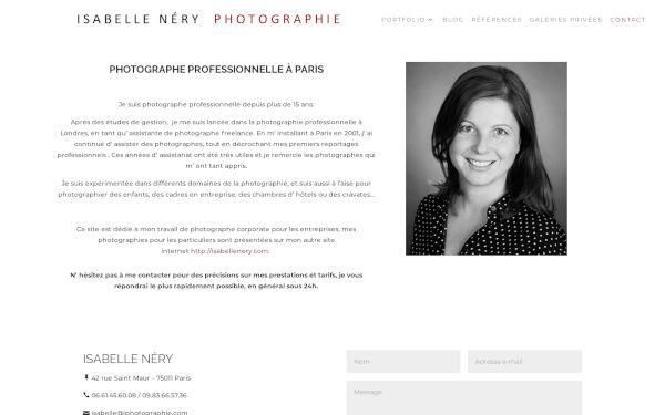 Isabelle Néry Photographie, page Contact